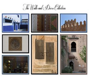 Walls and Doors Collection - a picturesque courtyard in the medina of Rabat, mosaics from moroccan palaces, ancient fortresses, antique ivory inlaid wooden chests , 2 ancient wooden doors and the mysterious kasbah in Chefchauoen.