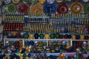 Glasses and Bowls for sale in the markets of Chefchaouen