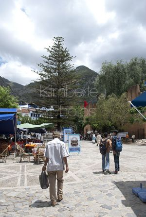 Plaza Chefchaouen with the Rif Mountains in the background