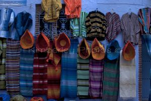 Blankets for sale in the markets at Chefchaouen