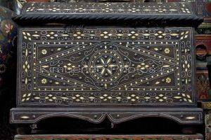 An old ivory inlaid wooden chest found in an antique store in Marakesh