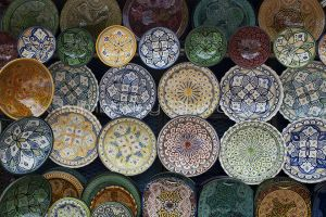 Gorgeous moroccan bowls on display at the markets in Chefchaouen