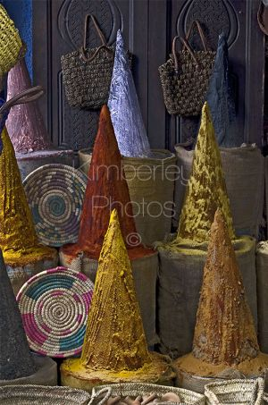 Spice cones are characteristic of the sights and smells within the souqs of Morocco
